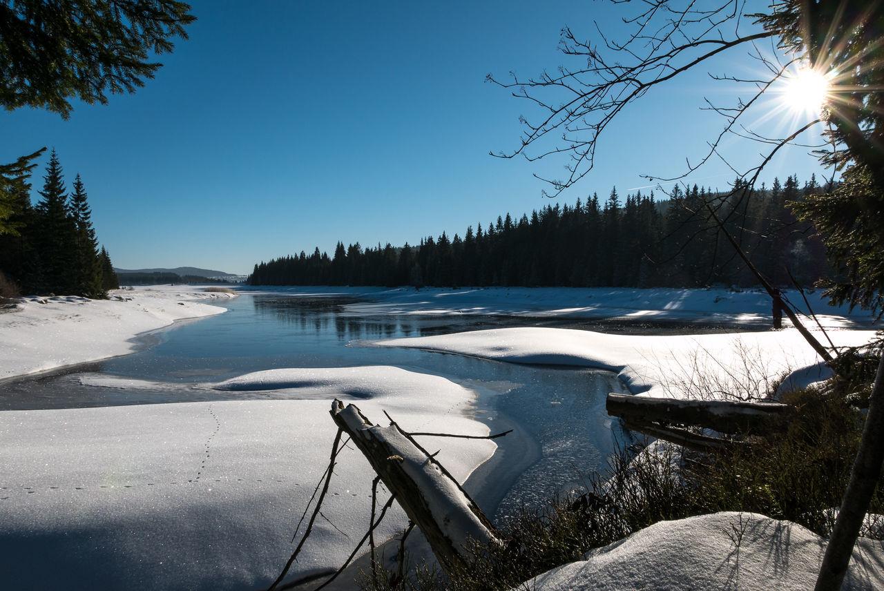 Frozen Lake in Desná, CZ Beauty In Nature Blue Sky Czech Republic Dam Desna Frozen Frozen Lake Lake Landscape Outdoors Scenics Snow Sunlight Water Winter Wonderland Winterlake Winterscapes Winter