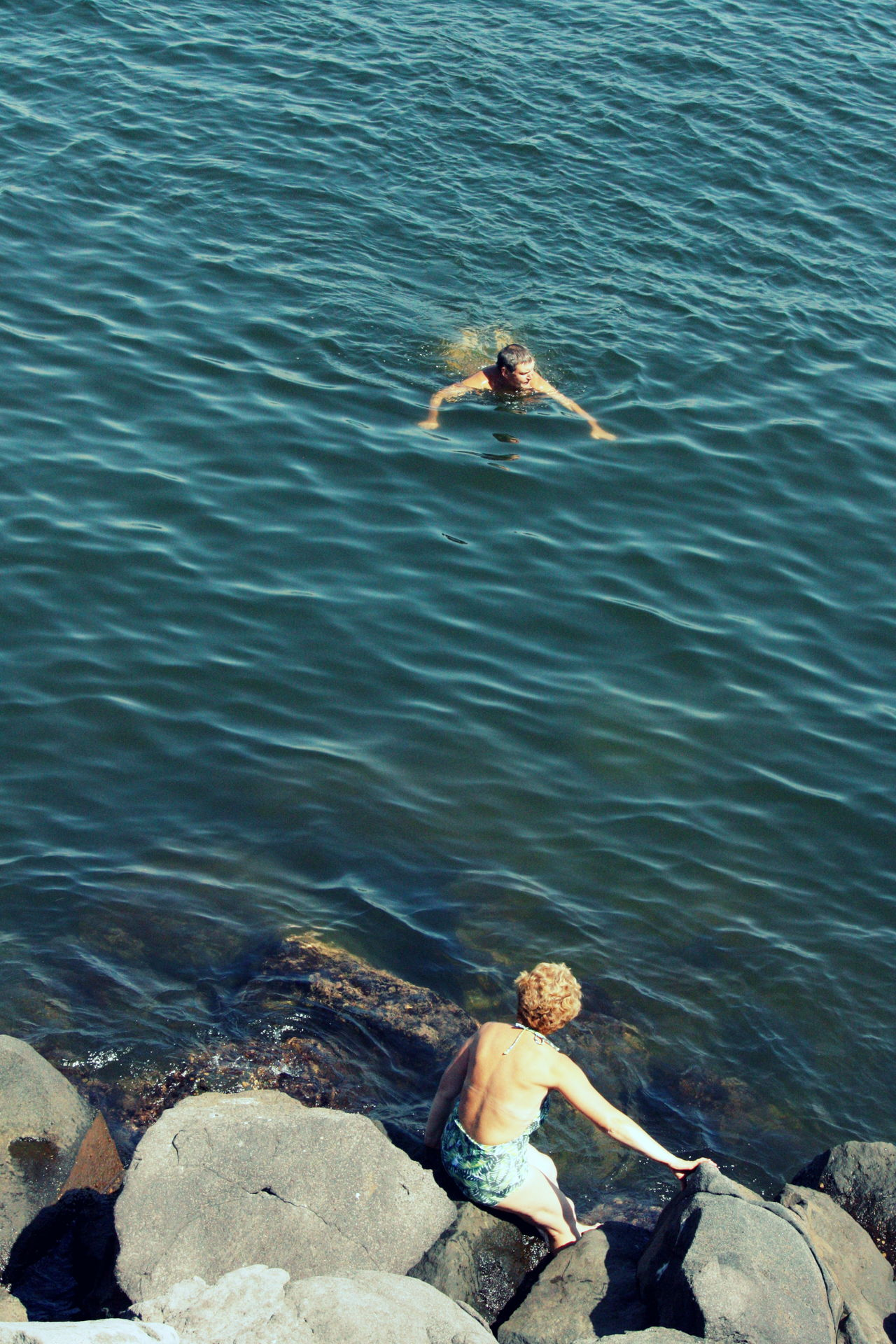 Couple Day Elderly Couple High Angle View Italy Leisure Activity Live For The Story Man Naples, Italy Napoli Nature Nature Ocean Outdoors Real People Romantic Sea Streetphotography Summer Swimming Telling Stories Differently Water Woman