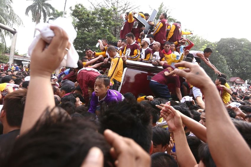 Feast of the Black Nazarene last January 9 2016 in Manila where thousands of Catholic devotees attend, just to see or touch the statue of the Black Nazarene. Philippines Manila Quiapo Traslacion Black Nazarene Devotees Faith Catholic