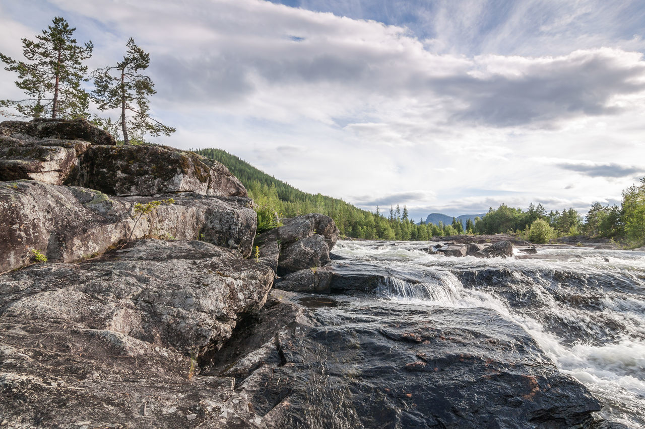 Beauty In Nature Cloud Cloud - Sky Day Landscape Nature No People Norway Outdoors Rippled River Rock Rock - Object Scenics Sky Tranquil Scene Tranquility Tree Tree Water Waterfall