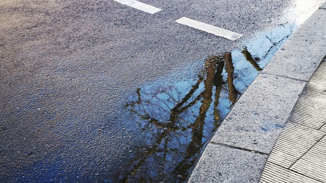 Sunny, rainy, stormy, overcast... Enjoying the weather outside. Outdoors Shadow Day Road Close-up Reflection Sky No People City Concrete Concrete Floor Streetphotography Berlin Berliner Ansichten My Fuckin Berlin Tree