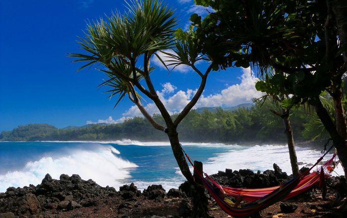 Sieste sur l'île de la Réunion Reunion Island Beauty In Nature Blue Day Island Mountain Nature Nautical Vessel No People Outdoors Scenics Sea Sky Tranquil Scene Tranquility Tree Water