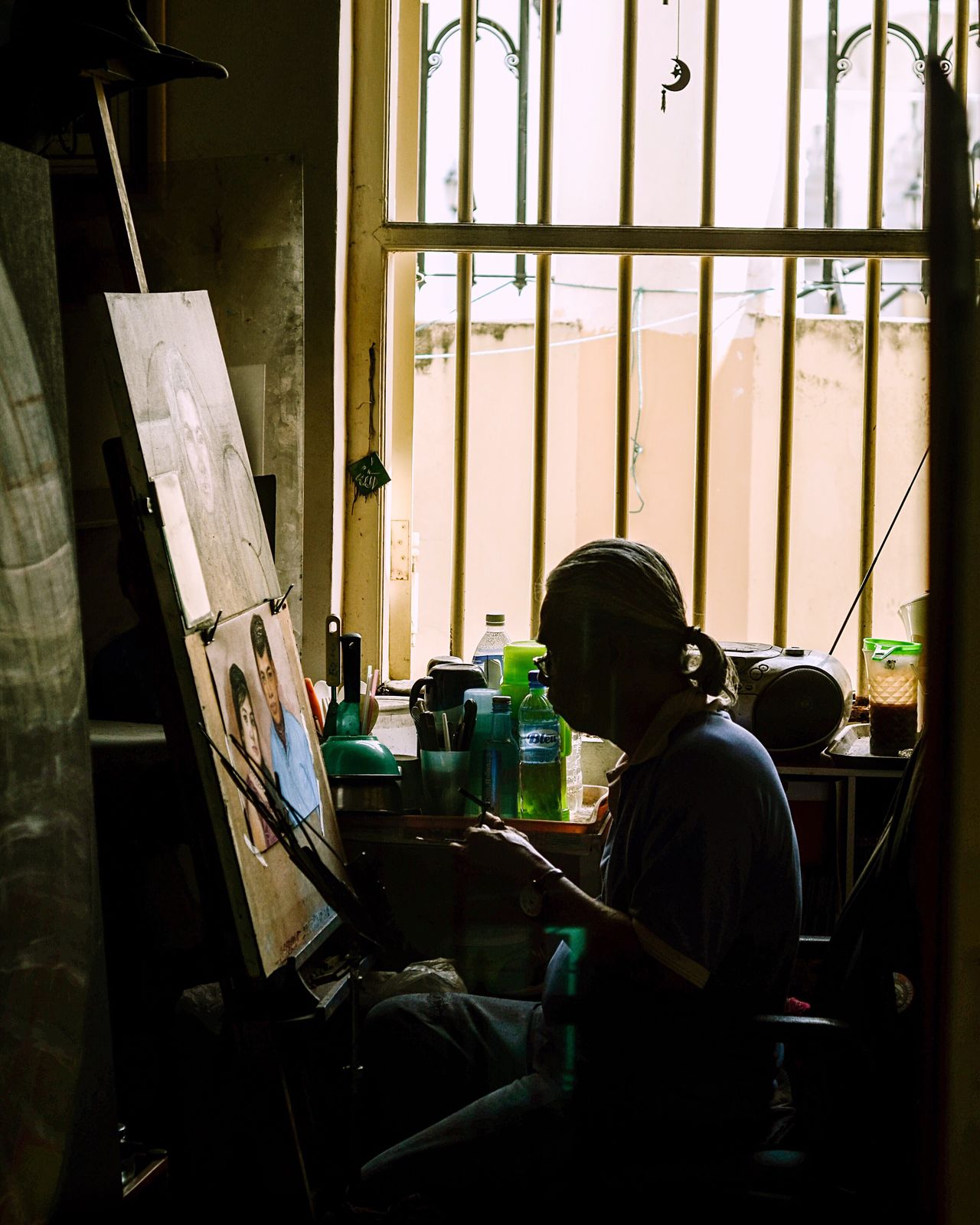 Real People Working Window Indoors  Occupation One Person Expertise Skill  Workshop Men Day People Artistic Artist At Work Artist Painting Penang Malaysia