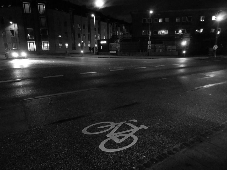 Night Street City Street Road Sign Transportation Illuminated Bicycle Lane Outdoors City Blackandwhite Black And White Friday