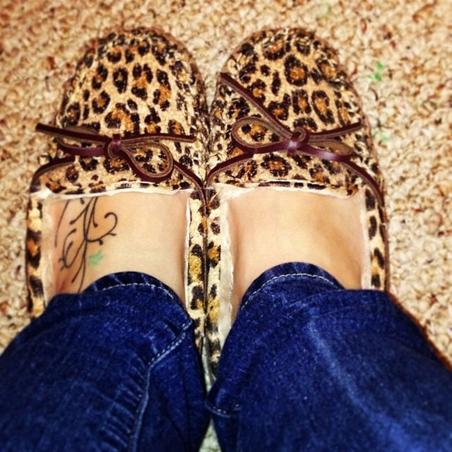 My new house slippers Leopardprint  Slippers LoveThem  Comfy  tattoo furry fuzzy bluejeans