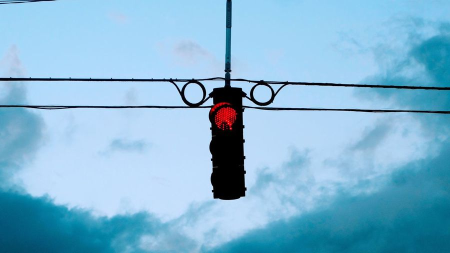 Red Color Trafficlight Red Light Electricity  Wires Sky Drivers View