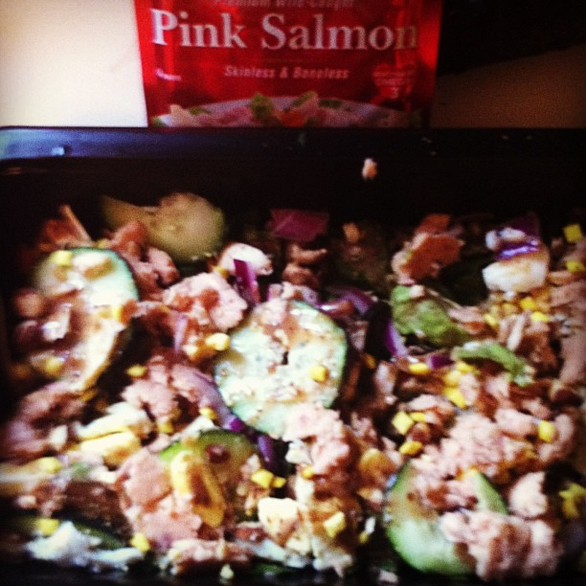"My attempt at Carson's Ribs ""garbage salad""... With salmon instead of chicken. Happy lunch! Pescatarian Thyck &fit Healthycurves"