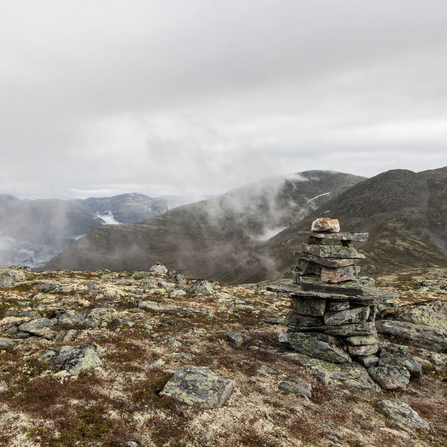 Hiking on Hoven in Norway Hiking Wanderlust Norway Hoven Fog Rain Loen Loen Skylift Scenics Stones Outdoors Cloud - Sky Sky Day Mountain Nature Landscape Beauty In Nature