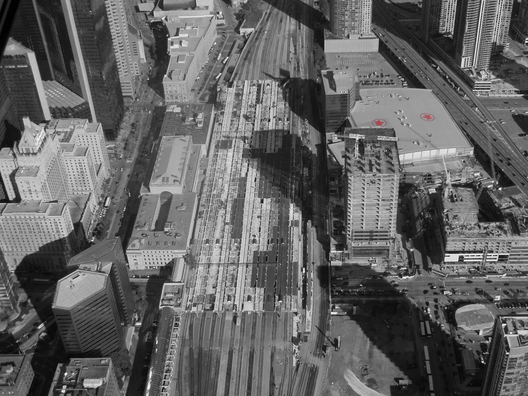Living city - Toronto Aerial View Architecture Blackandwhite Photography Building Exterior Built Structure City Cityscape Crowd Day Downtown District High Angle View Lifestyles Mode Of Transport Outdoors Skyscraper Station Train Toronto Canada Toronto City Train Tracks Through The Country Transportation Travel Destinations Union Station Toronto View From Above View From CN Tower Flying High