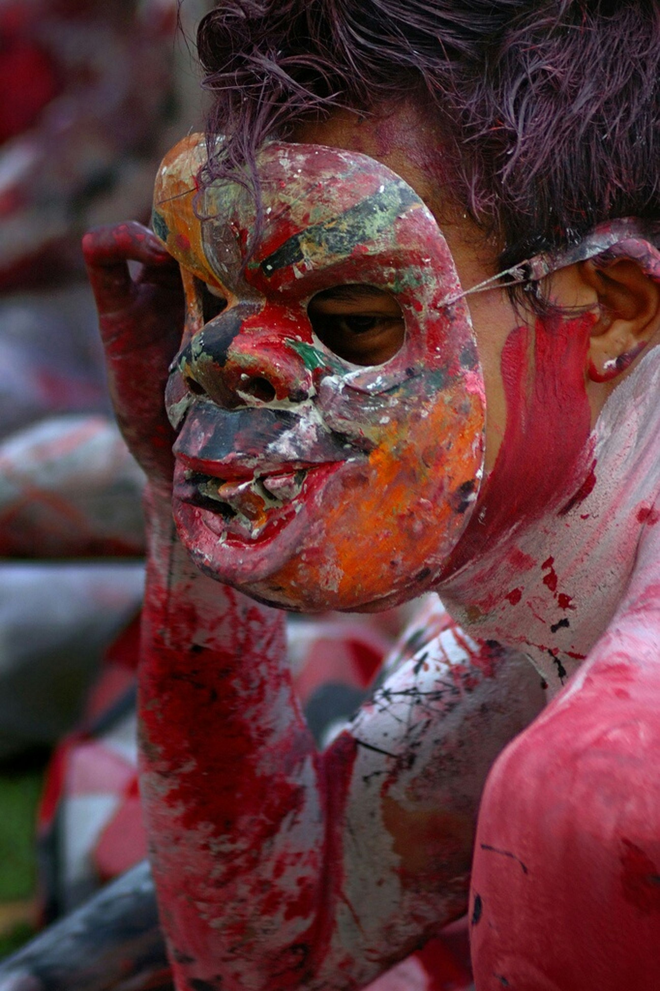 close-up, focus on foreground, red, part of, selective focus, outdoors, cropped, day, pink color, person, old, rusty, unrecognizable person, incidental people, water, animal themes