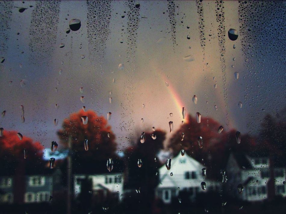 Rainy Season Raining Rainy Raining Day RainyDay Rainy Days☔ Rain Drops Raindrops Rainy Days Rain Water Droplets Waterdrops Dewdrops_Beauty Dewdrops Dew Drops Dew Backgrounds Close-up No People Condensation Window Drop Indoors  Rainbow Rainbow Colors