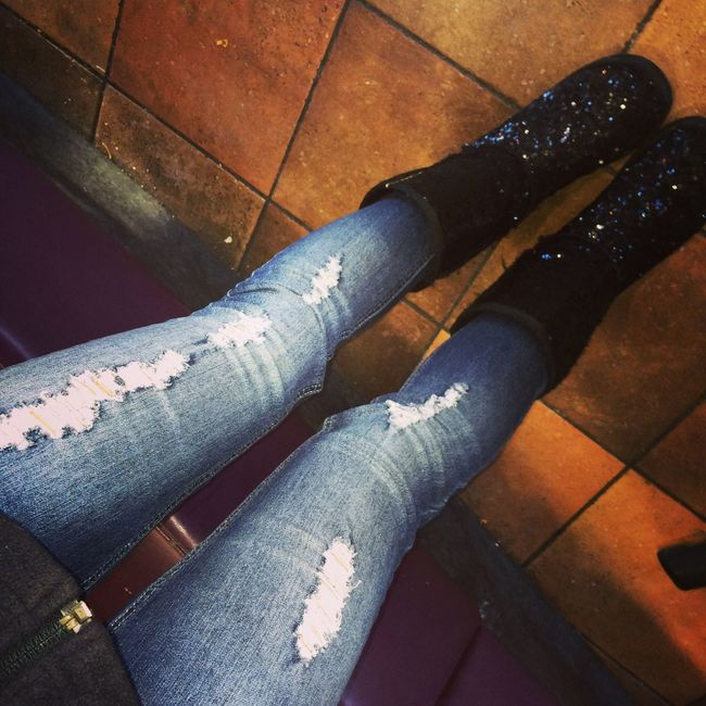 Ripped Jeans Taco Bell Sparkly Uggs  Comfortable