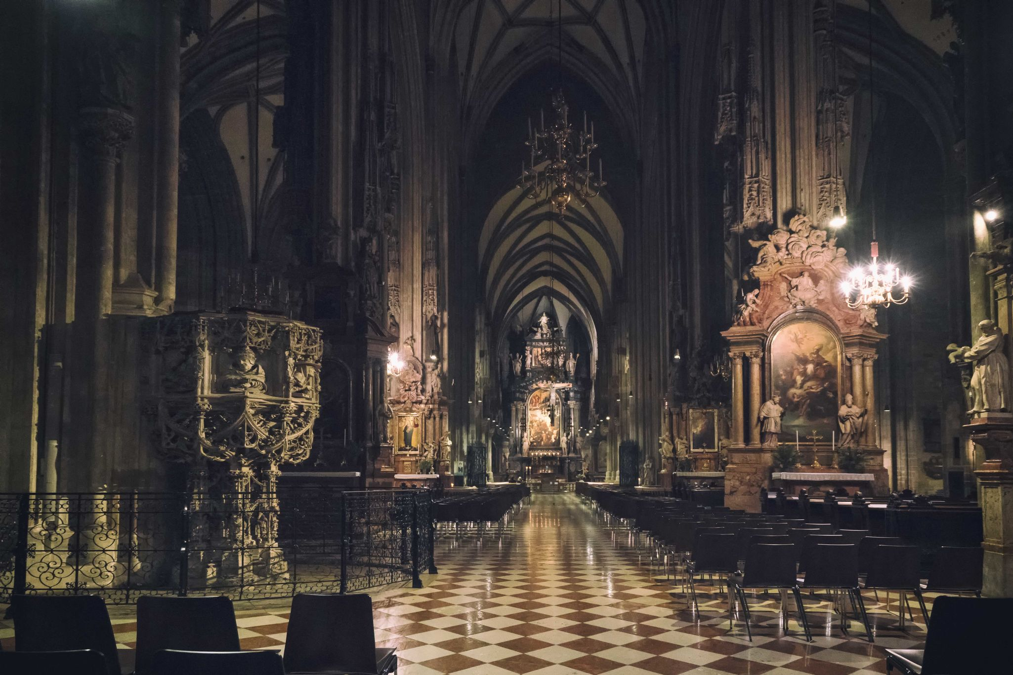 """St. Stephen Cathedral Vienna"" Vienna St. Stephen's Cathedral Church Architecture High ISO Sony A7RII Travel Destinations No People Illuminated Austria In Door Indonesian Photographers Collection Sony A7 Mark Ii Taking Photos Traveling Travel EyeEmNewHere EyeEm Best Shots EyeEm Gallery Wide Angle Traveling Photography"