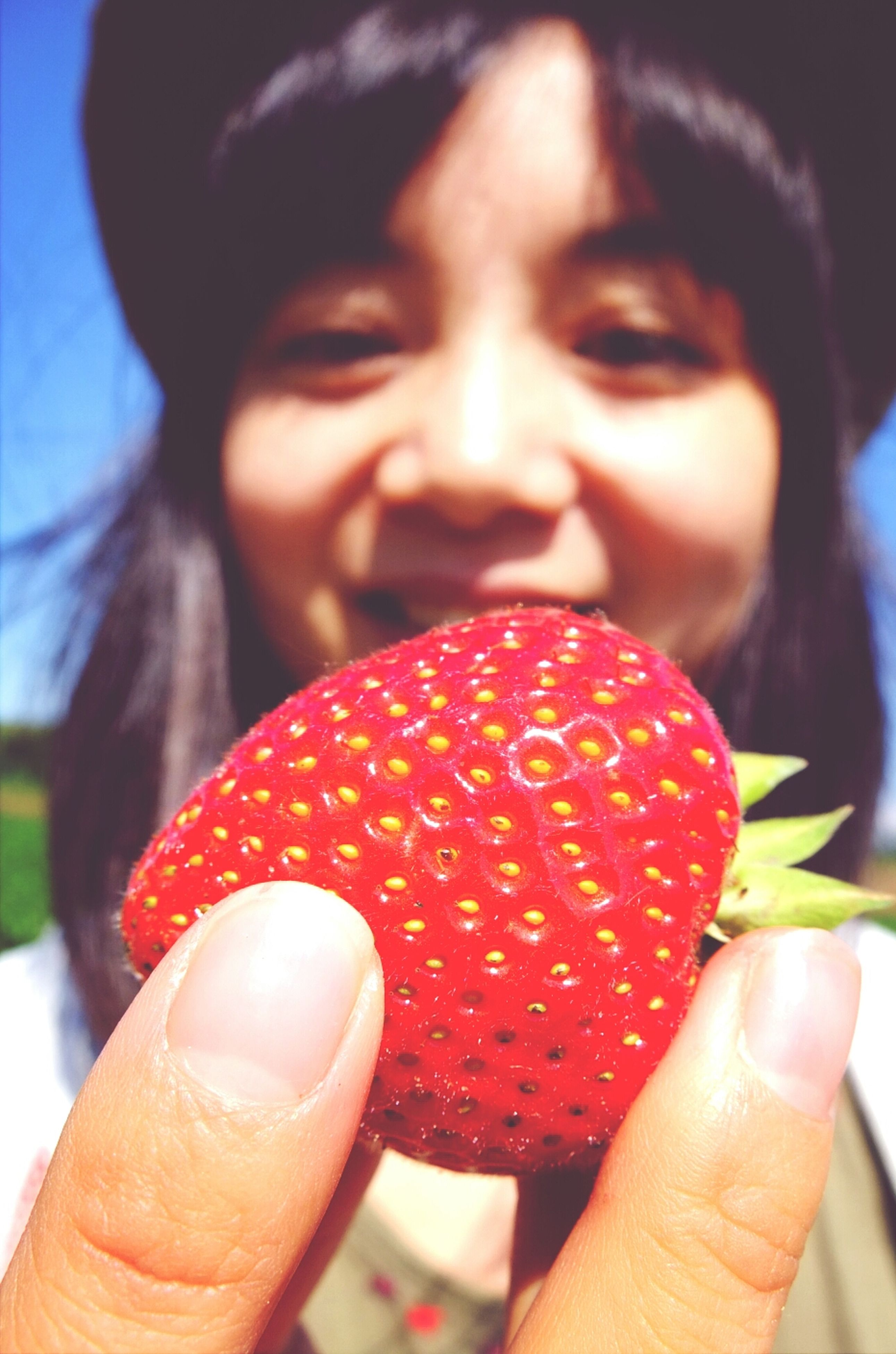 food and drink, food, holding, freshness, person, fruit, focus on foreground, sweet food, healthy eating, close-up, lifestyles, frozen food, strawberry, ice cream, indulgence, red, leisure activity