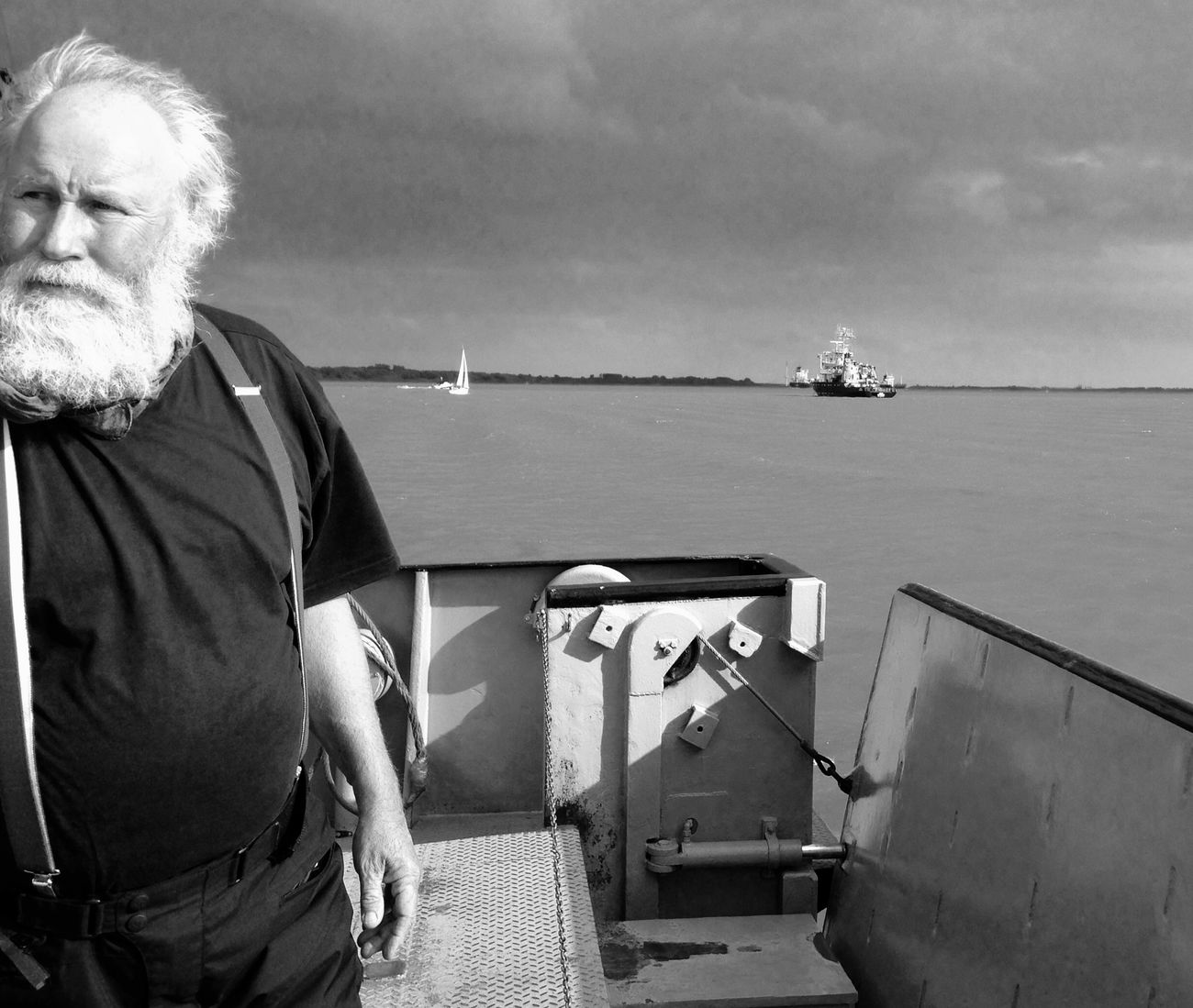 Oldman Blackandwhite Light And Shadow Shades Of Grey Taking Photos Traveling Sea And Sky Menswear Men Beard