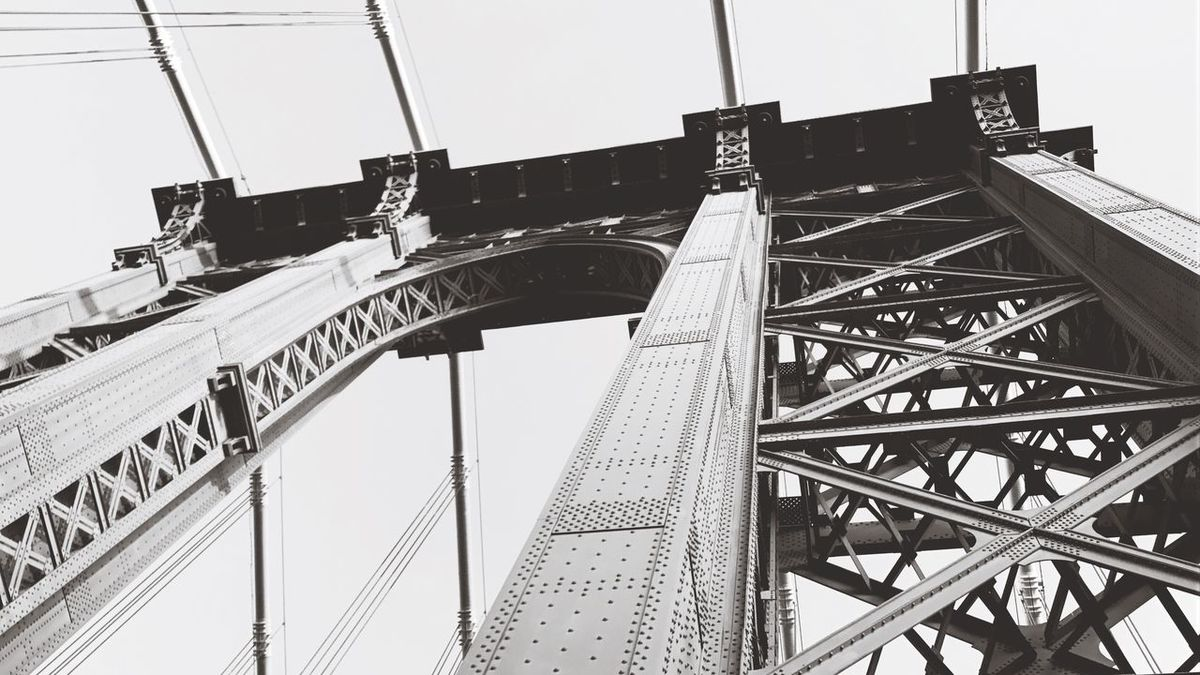 EyeEm Selects Architecture Bridge - Man Made Structure Low Angle View City Manhattan Built Structure Manhattan Bridge Bridge Bridges Truss Bridge Black And White Black & White New York NYC Looking Up