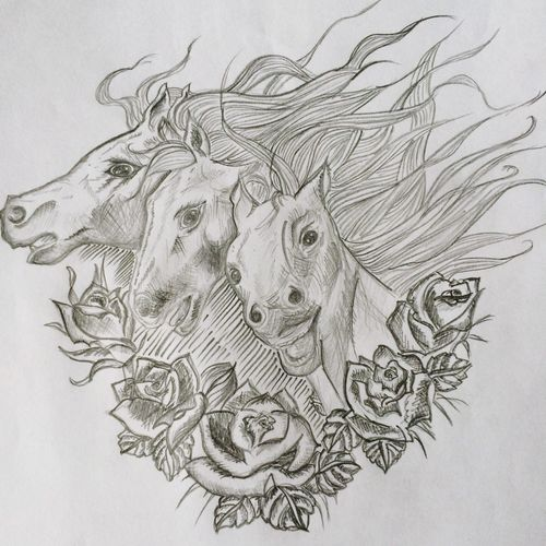 Tattoo horses, 2013 Oldone Founded Art My Work My Art Tattoo Project Sketch Dawing Horses Roses