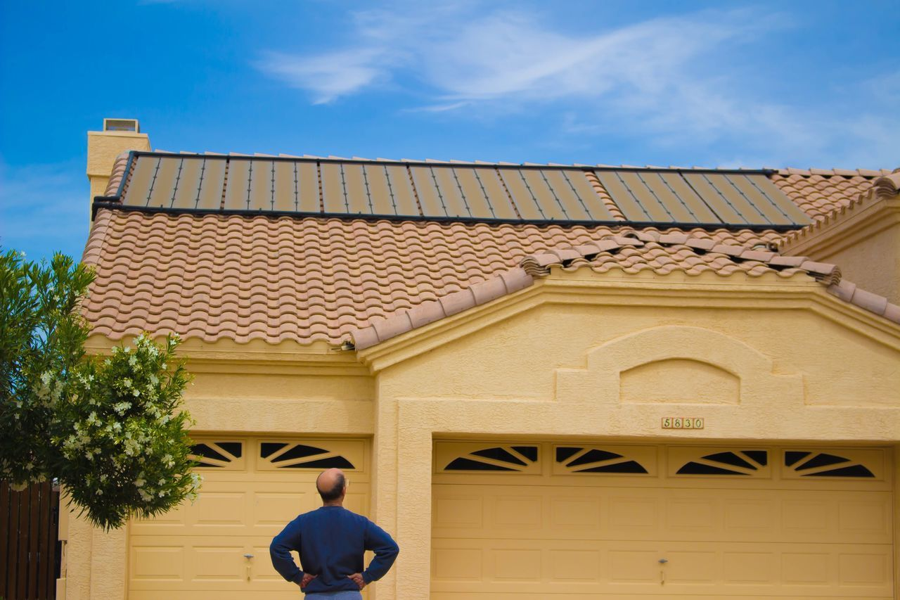 Here Belongs To Me Arizona Solar Energy Solar Panels Roof Man Tree Spring Springtime House Single Story Sky