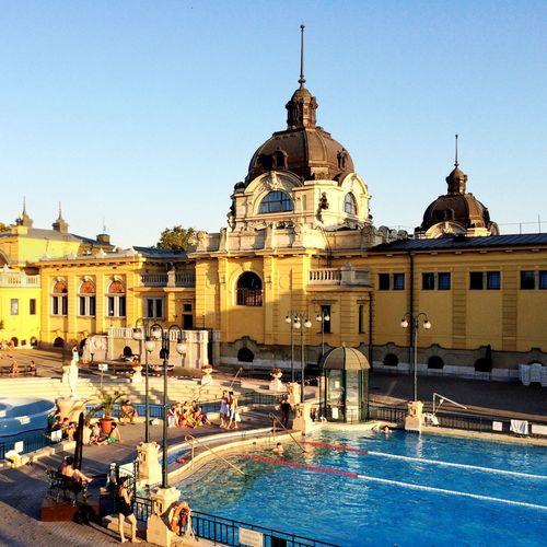 Szechenyi Baths, Budapest Spa Sunny Day Relaxing Swim Swimming Pool Széchenyi Baths Budapest