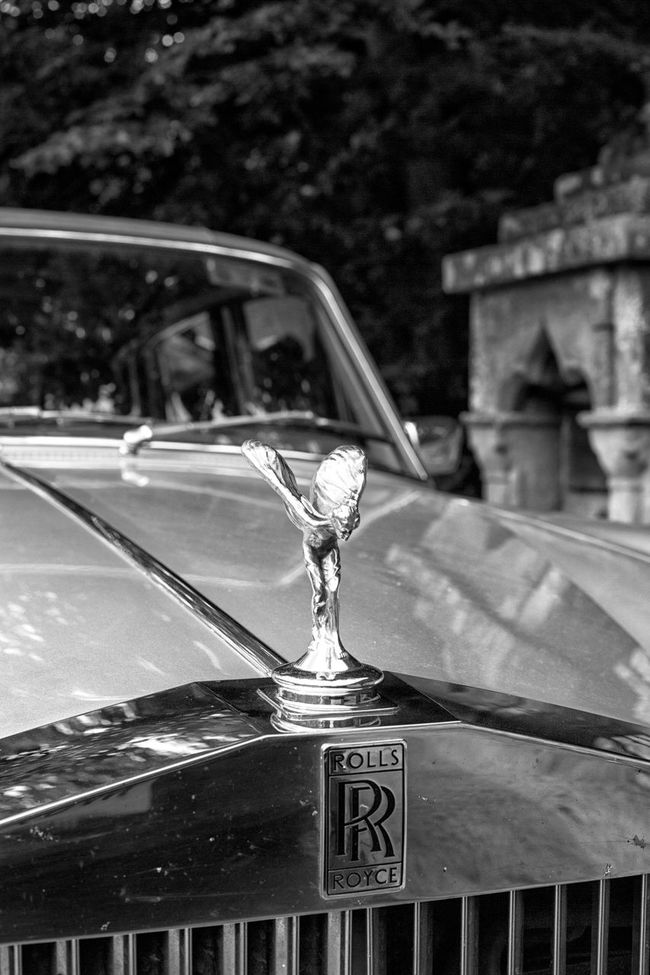 Rolls Royce grille and Spirit of Ecstasy mascot in black and white Automobile Beautiful Beauty, Black And White Car Chrome City Life Close-up Expensive Focus On Foreground History Luxurious Mascot No People Old Old Timer Outdoors Part Of Rolls Royce Spirit Of Ecstasy Style Symbol Transportation Vintage Wealth