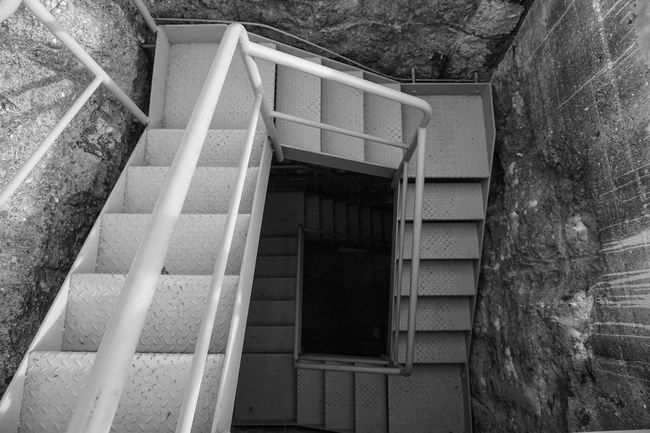 Stairways Looking Down Bunker Historical Building Tristesse Blackandwhite Black And White