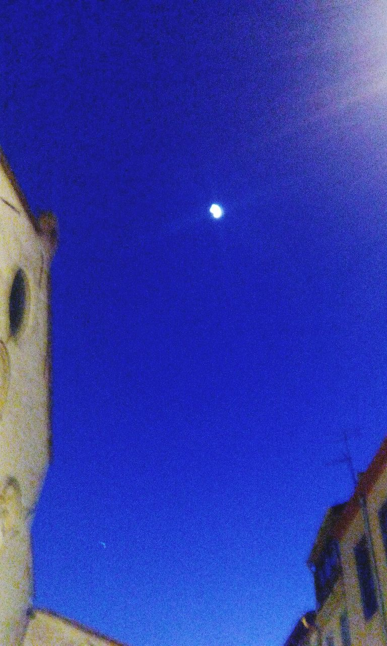 low angle view, blue, moon, no people, clear sky, outdoors, day, nature, architecture, close-up, sky