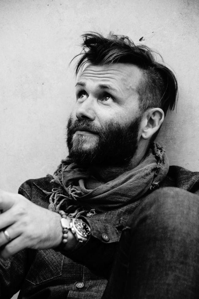 Beard Biker Black & White Casual Clothing Front View Hairstyle Headshot Leisure Activity Lifestyles Lookingup Person Portrait Relaxation Scarf Vintage Watch Wrinkles