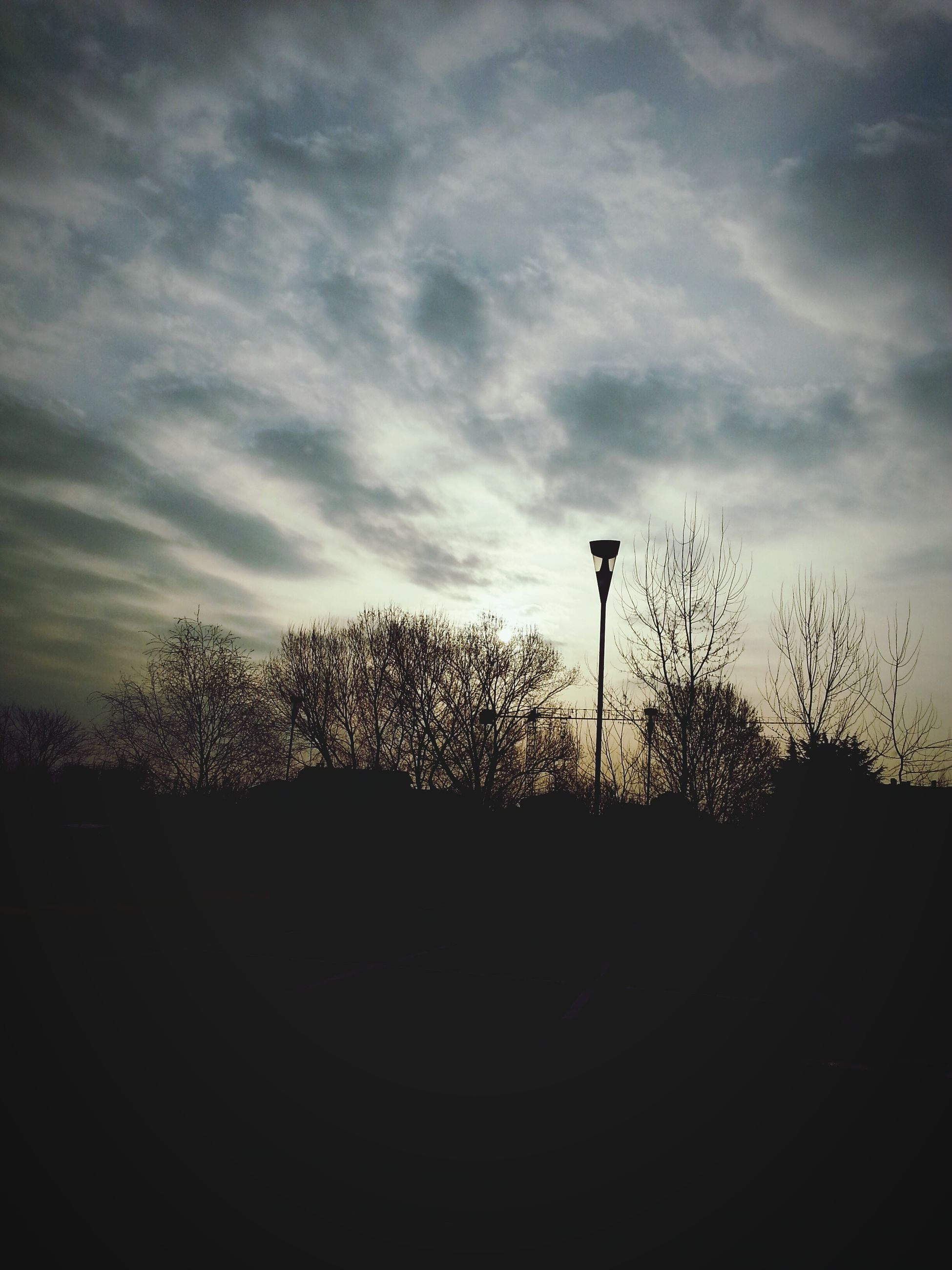 silhouette, sky, street light, tree, sunset, cloud - sky, lighting equipment, tranquility, nature, low angle view, dusk, tranquil scene, beauty in nature, cloud, dark, outdoors, cloudy, scenics, growth, no people