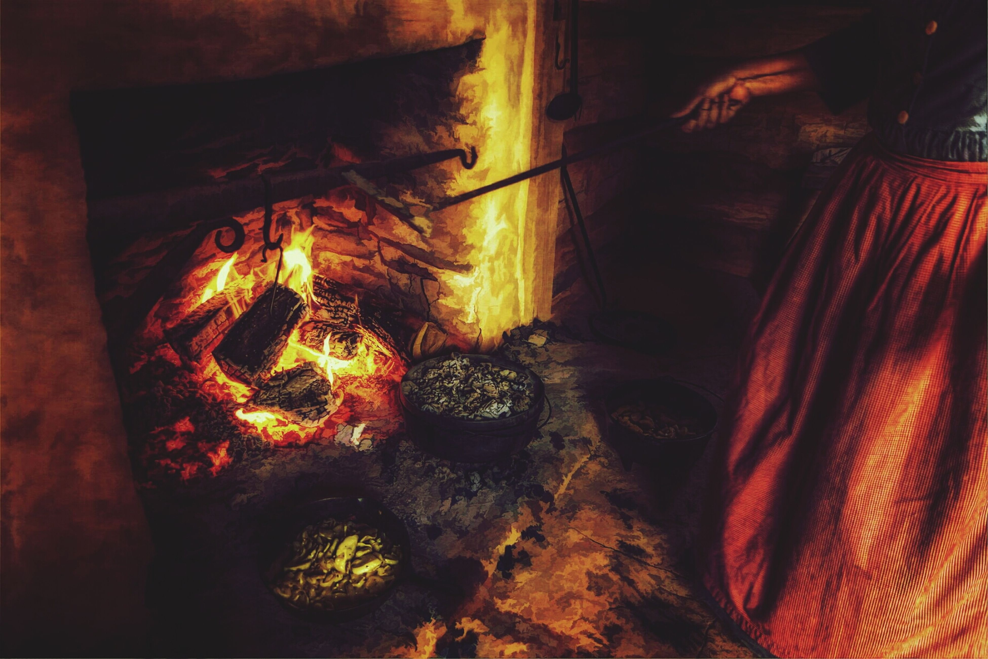 flame, burning, illuminated, fire - natural phenomenon, night, glowing, heat - temperature, indoors, orange color, close-up, no people, light - natural phenomenon, dark, wood - material, firewood, high angle view, fire, wall - building feature, pattern