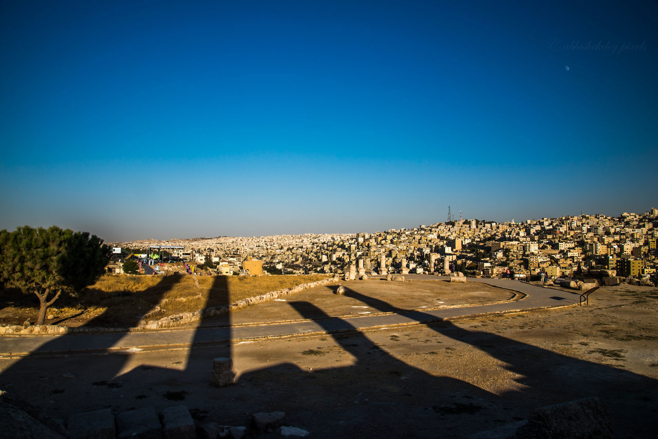 shadow, history, sunlight, clear sky, blue, day, no people, outdoors, nature, architecture, sky, ancient civilization