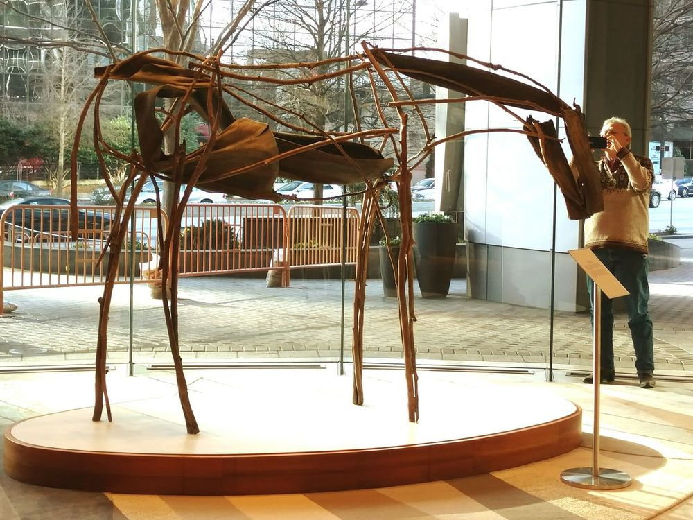 A fascinating horse sculpter made from branchs/sticks, and twisted bark and wood. The Tourist Taking Photos Buckhead Street Photography Travel Atlanta Ga Peachtree Piedmont Outofthephone EyeEm Gallery Arts Culture And Entertainment Horse Sculpture