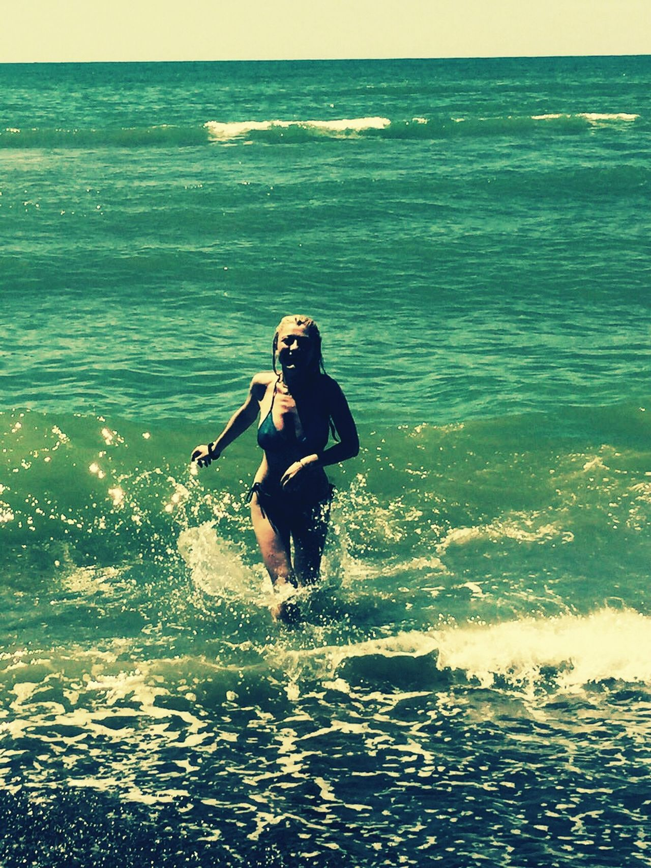 Hello World Thats Me ♥ Running On The Beach Green Color Green Sea Summertime Blacksea Happiness Happy People Beautiful Day Summer2016 Hot Day Sunny☀ Swimwear