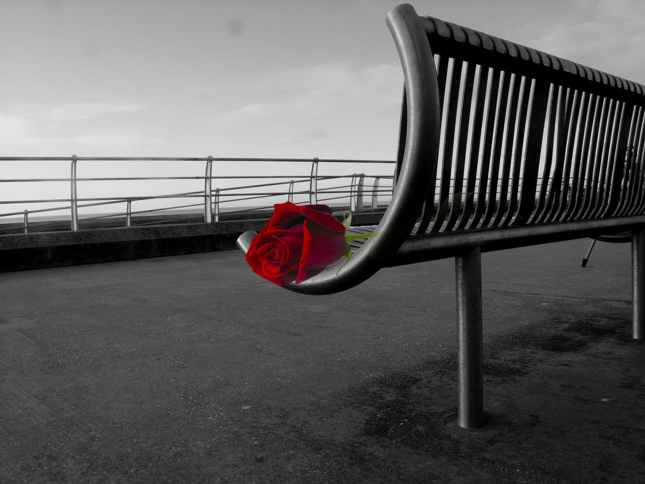 red, railing, outdoors, day, sky, no people, nature