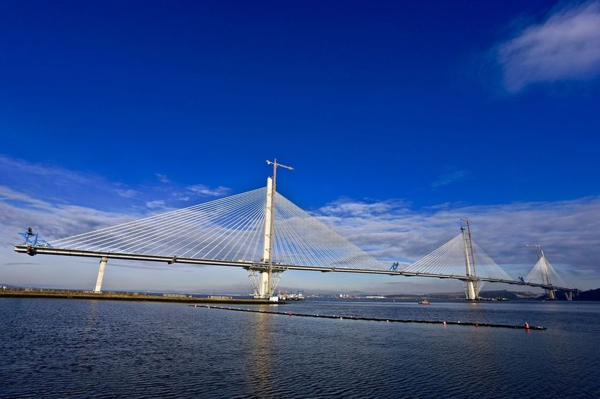 New Road Bridge - Queensferry Crossing. Firth of Forth. Under construction. Bay Bridge Bay Of Water Blue Bridge - Man Made Structure Cable-stayed Bridge Connection Engineering International Landmark Sea Sky Travel Water Waterfront