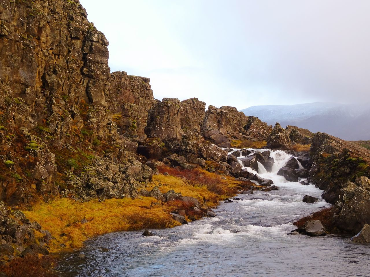 Nature Beauty In Nature Rock Formation Rock - Object Outdoors Landscape Sky Travel Destinations No People Tranquility Scenics Day Rock Rocks Waterfall Flowing Water Thingvellir National Park Thingvellir Iceland