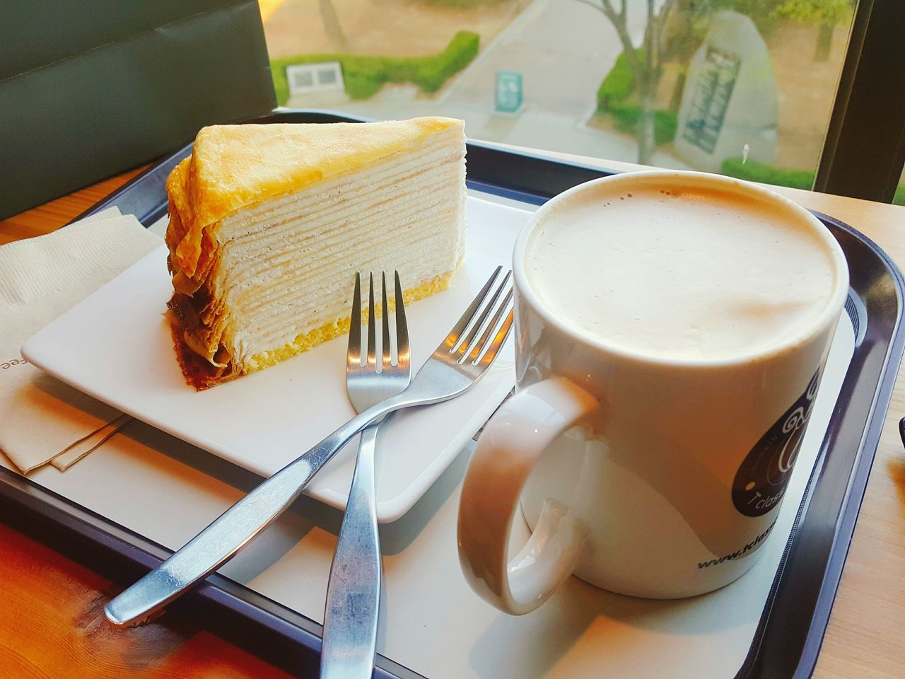 Coffee Cup Fork Coffee - Drink Cup Food And Drink Plate High Angle View Drink Table No People Indoors  Close-up Day Crape Cake Crapecake Relax