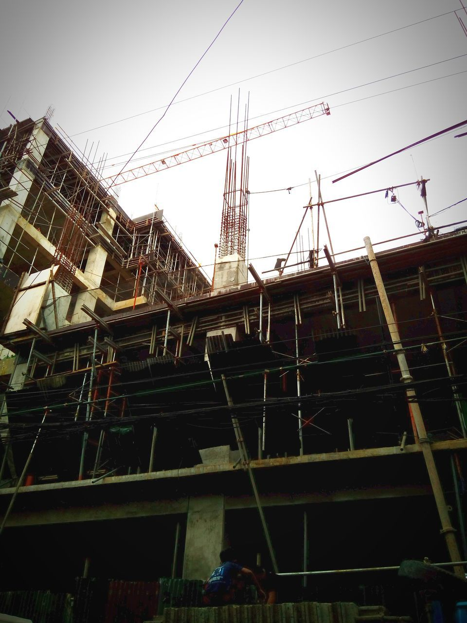 construction, construction site, architecture, low angle view, industry, outdoors, clear sky, day, no people, sky