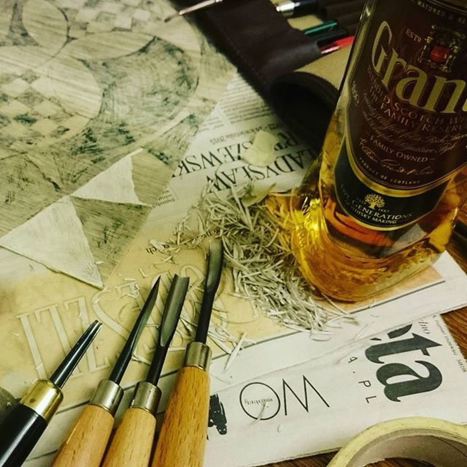 Grants tak bardzo pomocny :) Grant Whisky Linoleum Linoryt