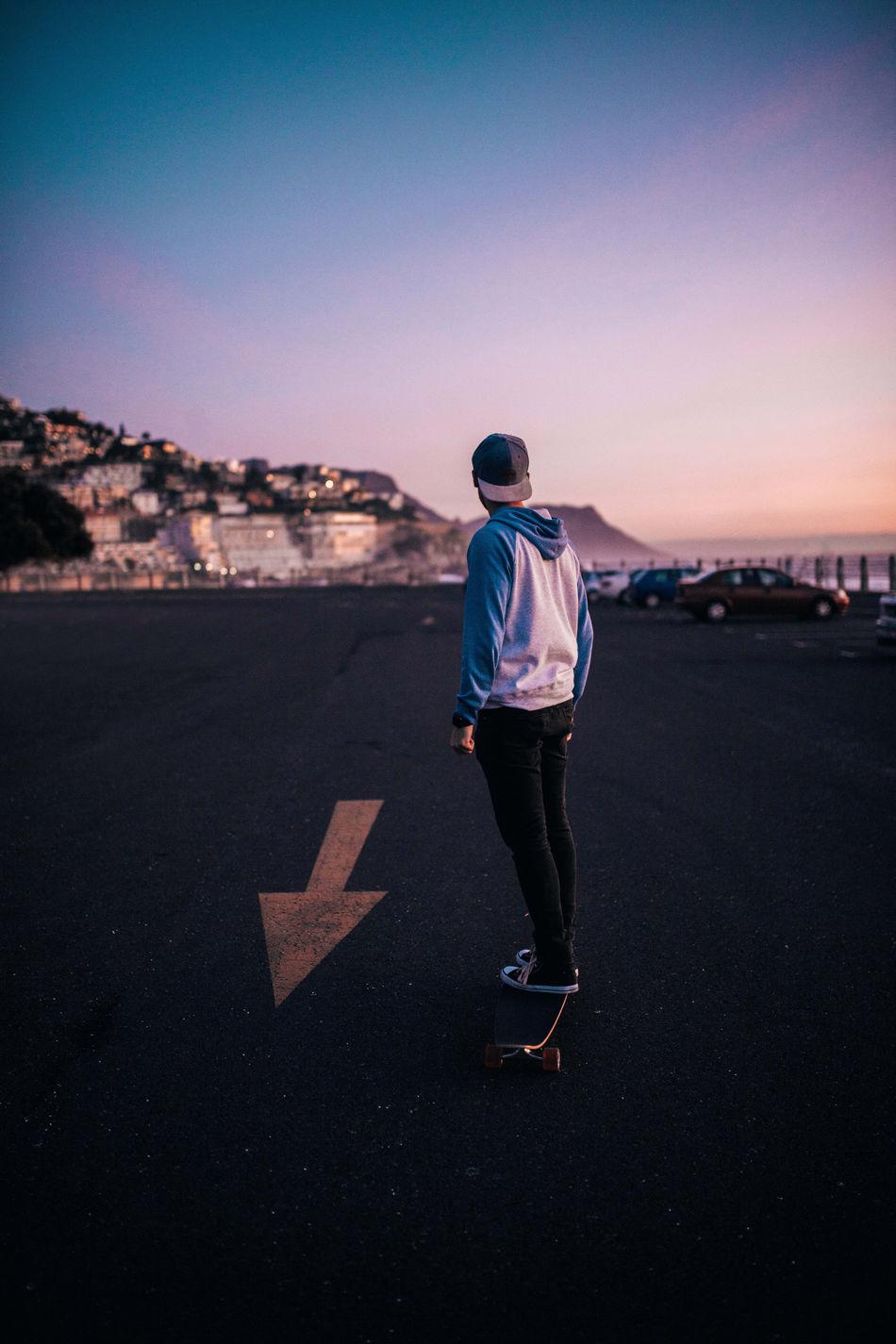 Cape Town crusin' Longboard Longboarding Man Parking Lot Real People Rolling Skateboarding Skating Sunset Urban