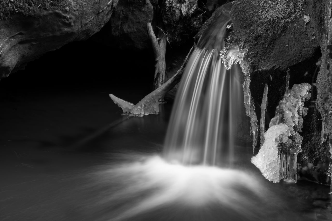 water, rock - object, waterfall, nature, motion, long exposure, cave, beauty in nature, no people, day, outdoors, scenics, animal themes, mammal