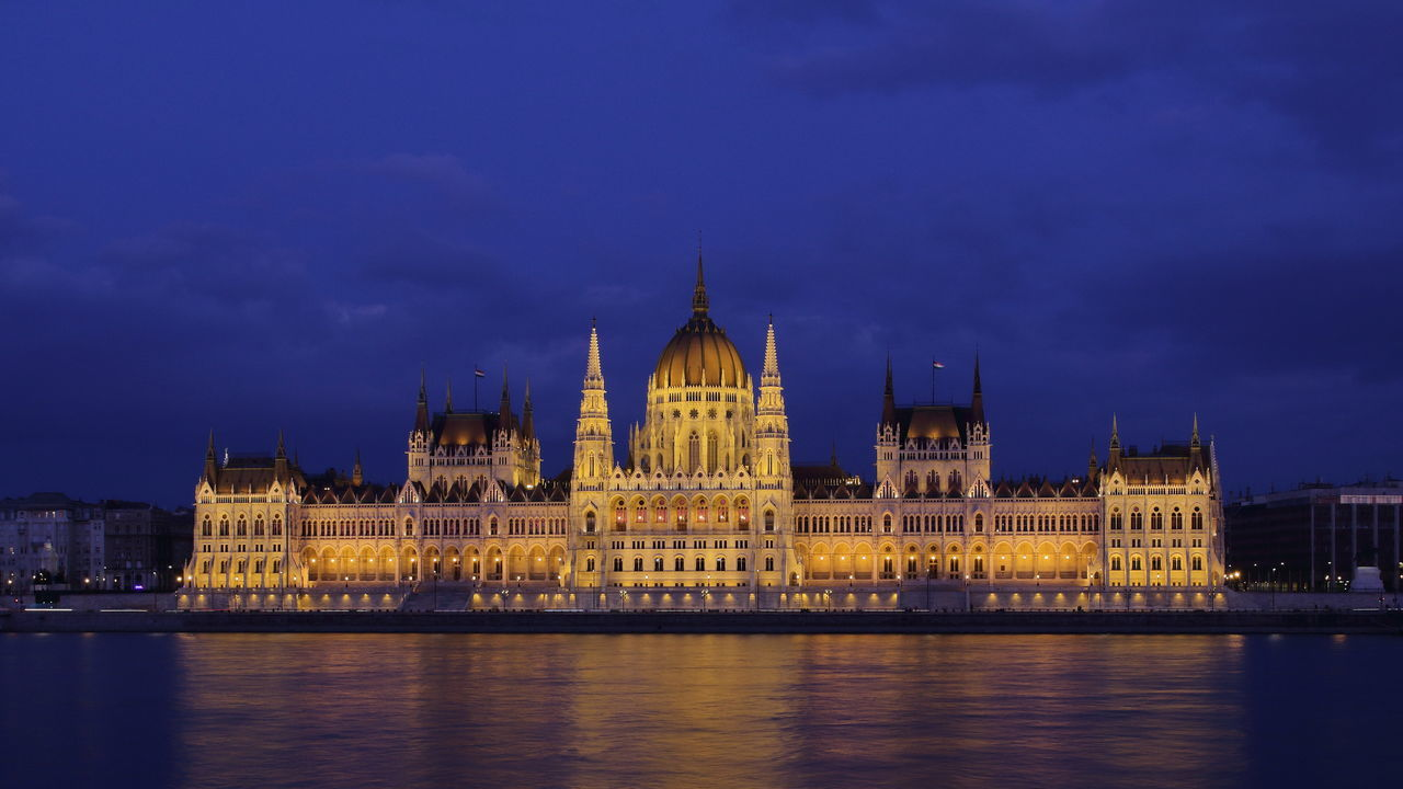 Hungarian Parliament Building Budapest Architecture Budapest Nightscape Duna Donau Danube Building Exterior Built Structure Capital Cities  City Famous Place Hungarian Parliament Building International Landmark Orszaghaz River Sky Tourism Travel Travel Destinations Water Waterfront