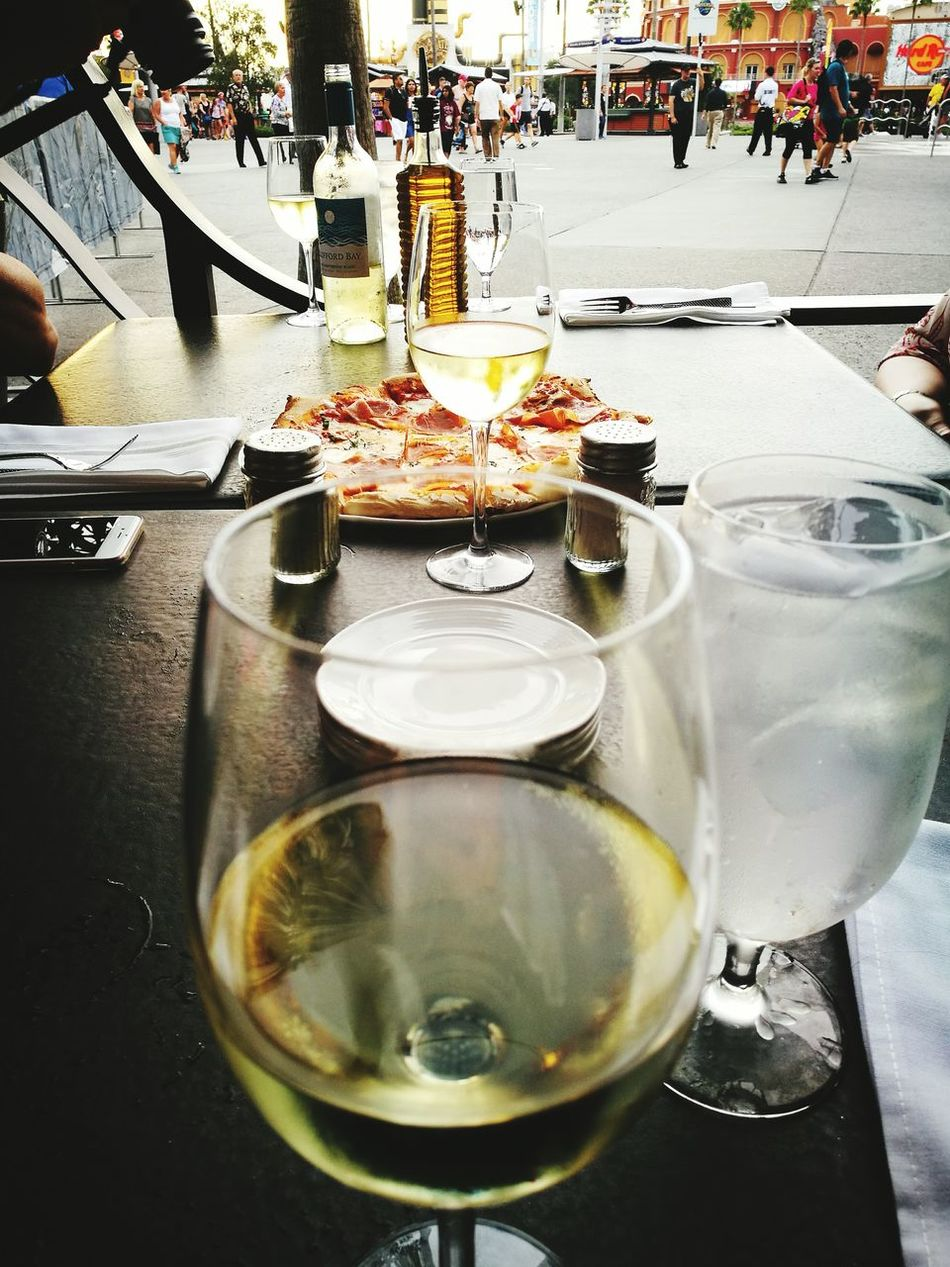 Through a glass Drink Food And Drink Pizza Dawn Daily Life Travel Wine Glasses Angle And Perspective