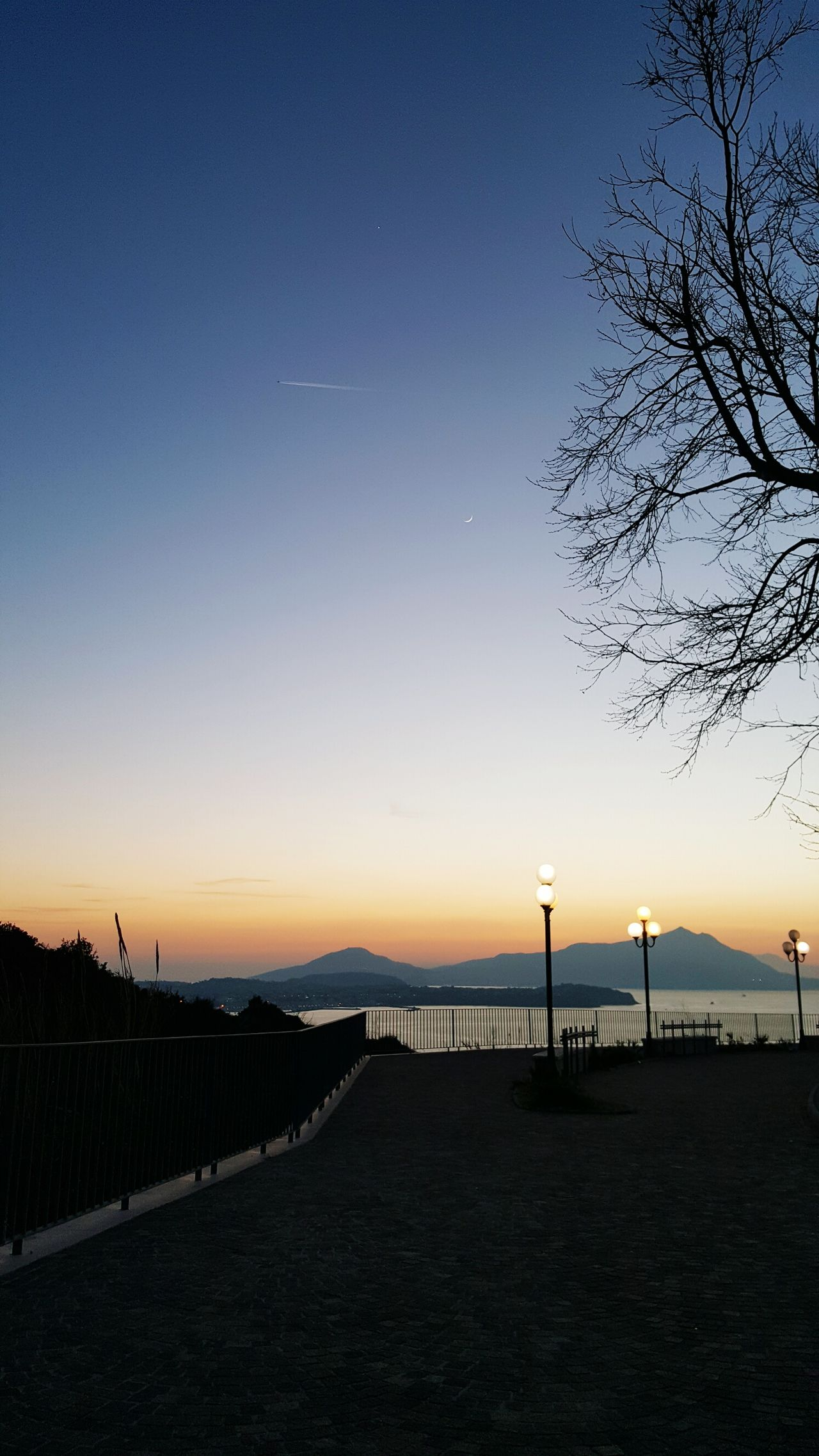 Sunset Sky Outdoors No People Water Nature Illuminated Architecture Scenics Sea Landscape_photography Landscape Tranquil Scene Sea And Sky Napoli ❤ Napoli Seaview Sky Porn Skylovers Tranquility Nature Beauty In Nature