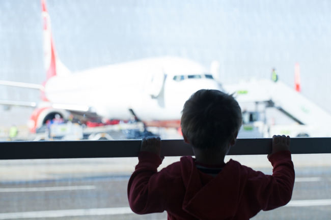 Airplane Airport Arriving Baby Boy Child Departing Glass Kids Little Looking Passenger Plane Rear View Terminal Transportation Travel Visitor Watching Window