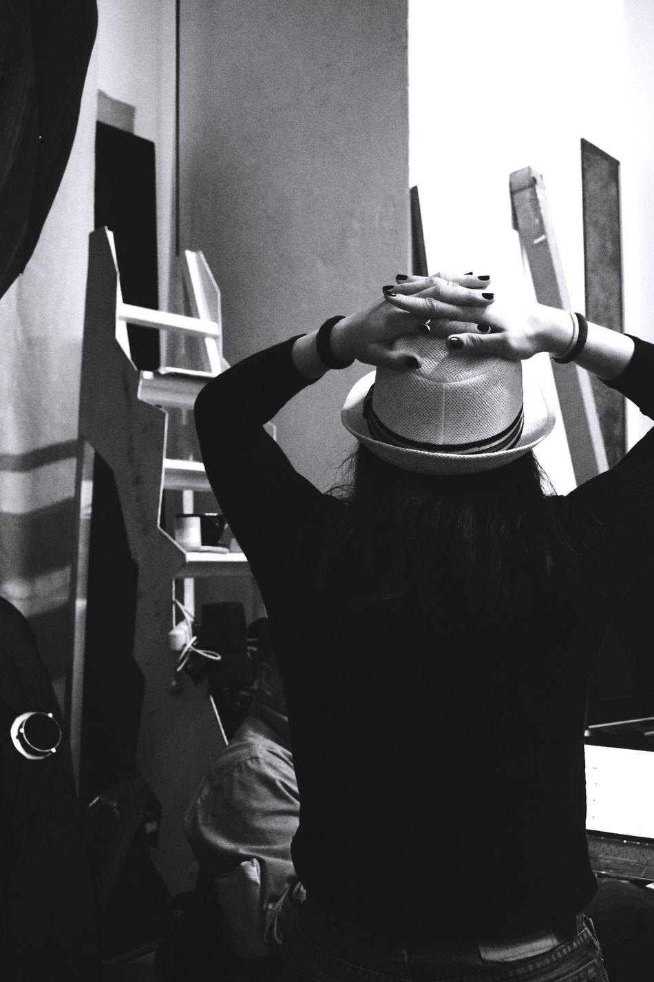 One Person Indoors  Young Adult Black And White Back Hat Fingers Hands