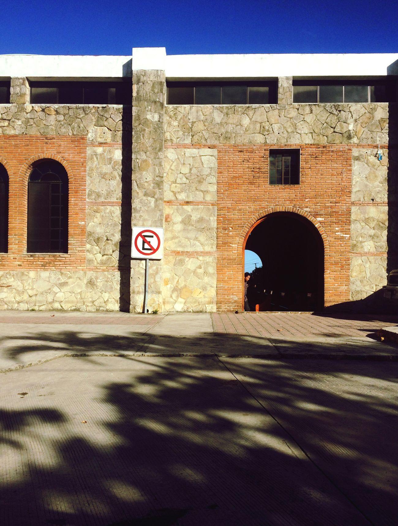 Esperanza Church People One Person Shadow Sun Street Sign No Parking Sign E Building Exterior Entrance Day Antique