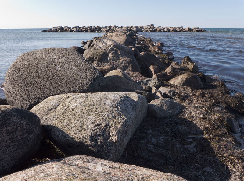 Baltic Sea Beach Beauty In Nature Clear Sky Coast Coastline Groyne Heidkate Horizon Over Water Landscape Pebble Beach Rock Rock Rock - Object Rocky Coastline Scenics Sea Seaside Shore Summertime Tranquil Scene Tranquility Vacations Water Wischhafen