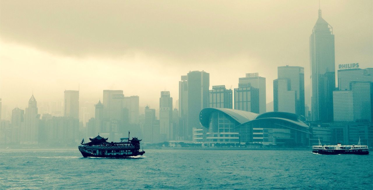 Traveling Hong Kong Skyline Black & White The mist begins to settle over Victoria Harbour, situated between Hong Kong Island and Kowloon