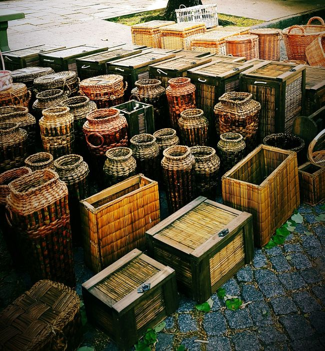Street market in La Plata, Argentina Large Group Of Objects For Sale Abundance Wicker Arrangement Display Order Full Frame Chests Street Eyeem Photography Outdoors From My Point Of View Containers