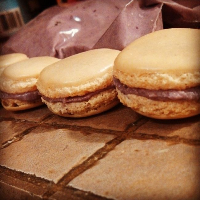First try at these was actually successful for the most part :) Ftenchmacarons Almond Blackberry Baking fun proud success